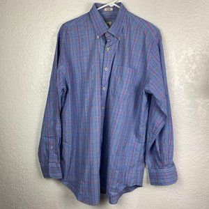 Peter Millar Mens Large L/ S Plaid Dress Shirt